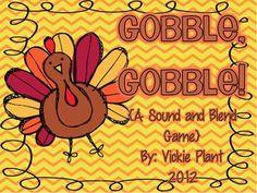Gobble Gobble! {A Sound and Blend Game} - Vickie Plant - TeachersPayTeachers.com free