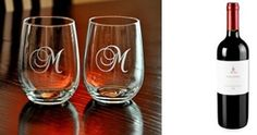 LIVE with Kelly and Michael - Holiday Gift Guide 2012: Give a personalized gift for the wine lover with a pair of monogrammed stemless wine glasses and a bottle of their favorite wine. $25 for a pair of monogramed wine glasses.  Wine glasses available at Tipsy Glows on Etsy.com.