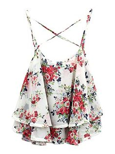 See this and similar tank tops - Choies White Layer Floral Print Cross Back Cami Top Vintage Rosen, White Crop Top Tank, Floral Print Shirt, Floral Crop Tops, Cami Tops, Chiffon Tops, Print Chiffon, Floral Chiffon, White Chiffon