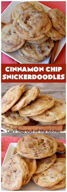 Cinnamon Chip Snickerdoodles Cant Stay Out of the Kitchen Triple the flavor with these amazing Rich sweet decadent oh so heavenly Cinnamon Desserts, Cinnamon Cookies, Cinnamon Chips, Köstliche Desserts, Delicious Desserts, Dessert Recipes, Yummy Food, Delicious Cookies, Cinnamon Ornaments