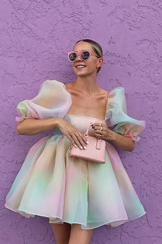 A Rainbow Puff Dress // Blair wearing a rainbow puff dress by Selkie. White nails are Essie's 'Blanc' shade. Cute Summer Dresses, Pretty Dresses, Beautiful Dresses, Dress Summer, Spring Dresses, Mode Outfits, Dress Outfits, Fashion Dresses, Look Fashion