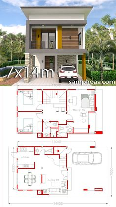 Small Home Design Plan with 3 Bedrooms - SamPhoas Plansearch Small Home Design Plan with 3 Bedrooms. This villa is modeling by SAM-ARCHITECT With 2 stories level. It's has 3 bedrooms.Simple Home Design Simple House Design, House Front Design, Tiny House Design, Modern House Design, Small Home Design, Model House Plan, Dream House Plans, Small House Plans, Modern Tiny House