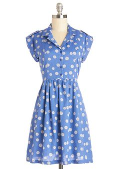 Champs-Elysees You Do Too Dress in Cornflower. On a park bench with the perfect view of your favorite Parisian structure, you're feeling extra romantic in this clear-blue shirtdress. #blue #modcloth