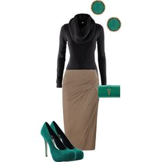 My Polyvore creation 2: pencil skirt, turtlenecks; camel, teal...would use the earrings to embellish the sweater : )