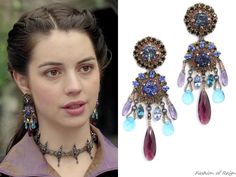 """the CW's Reign Fashion & Style - In the episode 3x10 (""""Bruises That Lie"""") Queen Mary wears these sold out Erickson Beamon Ripple Cascade Earrings.'  Worn with the Reign Costumes custom coat and dress, Rhondi Rocks Jewelry choker, Gillian Steinhardt labyrinth and signet rings."""