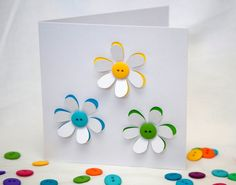 Button Flowers Card Greeting Card Paper Cut by Nikelcards, £3.95