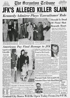 The Scranton Tribune front page. Newspaper Front Pages, Old Newspaper, Newspaper Wall, Newspaper Article, Kennedy Quotes, Los Kennedy, Kennedy Assassination, Newspaper Headlines, John Fitzgerald