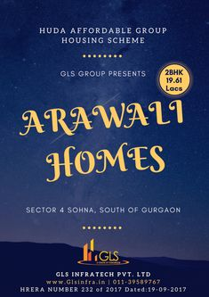 Pay Only 5% @ 86,560/- For Booking. REST IN 2 Installment*GLS Arawali Homes in Sector 4 Sohna South of Gurgaon.(( Haryana Gov. Scheme. )) 2 BHK in Just 19.61 Lacs. Rest, Golf, Homes, Link, Houses, Home, Computer Case, Turtleneck