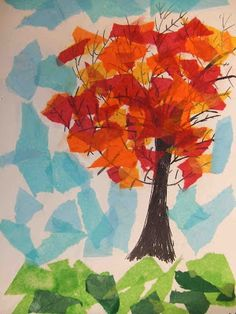 PoppyCat News: Tissue Paper Collage ~ Fall Trees ~ Grade PoppyCat. - : PoppyCat News: Tissue Paper Collage ~ Fall Trees ~ Grade PoppyCat. Fall Arts And Crafts, Fall Crafts For Kids, Art For Kids, Fall Art For Toddlers, Autumn Art Ideas For Kids, Paper Art Projects, Fall Art Projects, Thanksgiving Art Projects, First Grade Art
