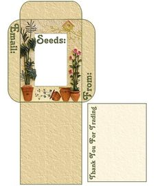 Use these free seed envelope / packet templates. Printable Labels, Printable Paper, Seed Packet Template, Envelope Book, Garden Labels, Vintage Seed Packets, Printing Labels, Vintage Crafts, Vintage Labels