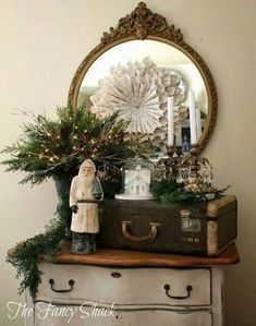 The Fancy Shack: Christmas Home Tour. I have a Christmas board but I wanted my… Noel Christmas, Primitive Christmas, Country Christmas, Winter Christmas, Christmas Crafts, French Christmas, Cottage Christmas, Primitive Snowmen, Christmas Porch
