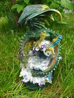 DRACHE Figur FANTASY Dragon World LED BELEUCHTUNG NEU 26cm grün Mystik Deko