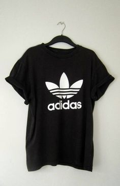 Image of Vintage Adidas Originals T Shirt XL - black slim fit button down shirt, casual shirts for guys, online shirts sponsored WOMENS T-shirt Adidas Vintage, Black Tees, White Tees, Camisa Adidas, Adidas Shirt, Adidas Logo, Vetement Hip Hop, Fall Outfits, Casual Outfits