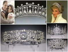 """Images clockwise from upper left: Kate Middleton & Prince William of Wales, Princess Diana's """"Cambridge Lover's Knot Tiara"""", Princess Diana .wearing her tiara,royal bridal Crown:"""