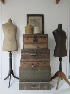 L'armoire de Camille stack of vintage suitcases and tailors dummies, great style Repinned by www.silver-and-grey.com