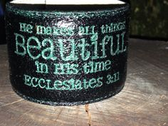 A personal favorite from my Etsy shop https://www.etsy.com/listing/235394725/black-leather-cuff-that-has-an-aqua