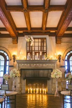 Romantic Fireside Wedding Ceremony on a Rainy Day | photo by cptphotography.com