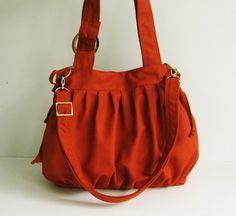 Sale  Burnt Orange Canvas Pumpkin Bag purse tote by tippythai, $39.00