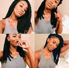 Medium length box braids