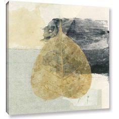ArtWall Elena Ray Wabi-Sabi Bodhi Leaf Collage 3 inch Gallery-wrapped Canvas, Size: 36 x 36, White