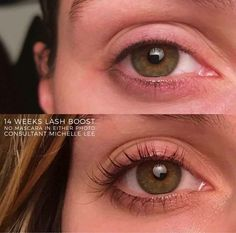 """SERIOUSLY!!! SHUT THE FRONT DOOR!!! Still think Lash Boost is too good to be true?!! Check this out!! Finally want to give it go? This is Michelle. In case you were thinking, """"Oh, her lashes just look long because of her mascara"""" - guess again!! She's NOT wearing any makeup!!! These before and after photos are 14 weeks of Lash Boost. Holler :)) #RFLashBoost"""
