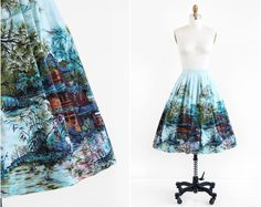 vintage 1950s skirt / 50s skirt / Blue Novelty by RococoVintage