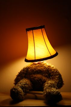 Lamp Bear, old teddy bear, old lamp shade, mood lighting, Led lighting, desk lamp... Punk Trek www.punktrek.com www.facebook.com/punktrek Old Teddy Bears, Brown Teddy Bear, Desk Lamp, Table Lamp, Old Lamp Shades, Diy Crafts, Lights, Trek, Mood