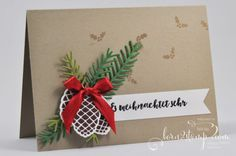 born2stamp STAMPIN 'UP! Christmas card - Fir Spell - Thinlits fir and cones…