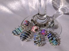 Opal wine charms