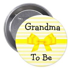 #stripes - #Grandma to be yellow and white baby shower button