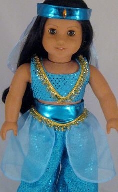 Princess Jasmine Costume fits American Girl by enchanteddesigner American Doll Clothes, Ag Doll Clothes, Doll Clothes Patterns, American Dolls, American Girl Halloween, My American Girl, Doll Costume, Costumes, Princess Jasmine Costume