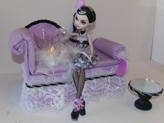 Furniture for Ever After High Dolls Handmade Chaise Lounge Bed for Duchess Swan with Mirrored Table and Working Swan Lamp!