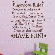 Playroom Rules Have Fun vinyl wall quote by SpiffyDecals on Etsy, $27.99