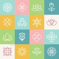 Line icons and logo design elements - flowers and organic symbols