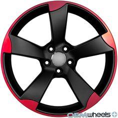 18 Red Rs3 Style Wheels Fits Vw Cc Eos Golf Gti Jetta Mk5 Mkv Pat B6 Rims