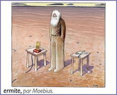 Moebius - Little Larousse - Hermit Comic Book Artists, Comic Artist, Comic Books, Jean Giraud, Manado, Shanghai, Statues, Moebius Art, Western Comics