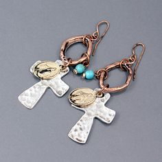 Mixed metal hammered metal cross charm earrings from www.cowgirlshine.com $12