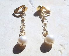 Simple Dangly Large Pearl Handmade Gold  Wire Chain Clip-On Earrings (made to order