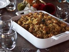 Cornbread Dressing with Sausage, Apples and Mushrooms. I make this gluten free by subsituting gluten free bread toasted and mixed with crumbled gluten free cornbread. Very good.