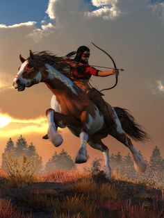 Native American Wall Art - Digital Art - Horseback Archer At Dawn by Daniel Eskridge Native American Horses, Native American Warrior, Native American Paintings, Native American Pictures, Native American Design, American Indian Art, American History, Indian Artwork, Indian Horses