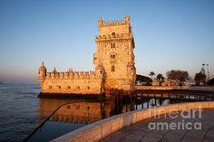 Belem Tower at sunrise on the Tagus river, city of Lisbon, Portugal. #lisbon #lisboa #portugal #belemtower #belem #sunrise #landmark #portuguese #historical #fortification #river #europe #fineart #tower #fineartprints #artprint