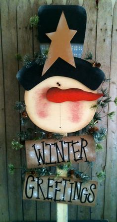 Embedded image More Christmas Yard Art, Christmas Wood Crafts, Primitive Christmas, Christmas Signs, Christmas Snowman, Rustic Christmas, Christmas Projects, Winter Christmas, Holiday Crafts