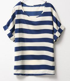 Blue White Short Sleeve Striped Chiffon Blouse 7.90
