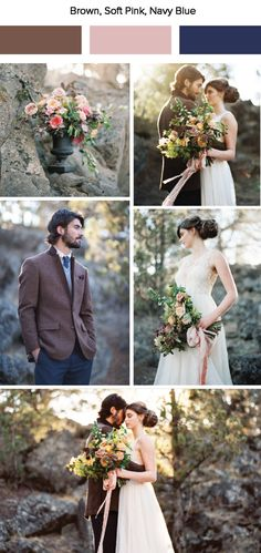 Brown, soft pink, and navy blue wedding color palette