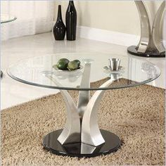 Homeelegance charlaine glass top round #table