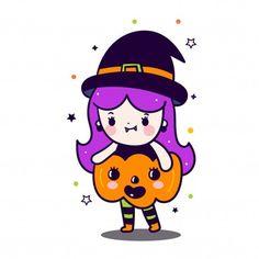 Vivid8 | Freepik Kawaii Halloween, Cute Halloween Cakes, Halloween Mono, Halloween Balloons, Halloween Doodle, Baby Girl Halloween, Unicorn Halloween, Halloween Party Themes, Halloween Drawings