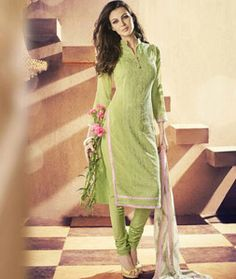 Buy Green Georgette Churidar Suit 71187 online at lowest price from huge collection of salwar kameez at Indianclothstore.com.