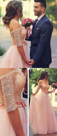 PINK A-LINE LACE SWEETHEART LONG PROM DRESSES, FORAML DRESSES
