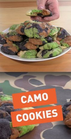 Watch this delicious Camo Cookie recipe video! Want to keep your treats all to y… Watch this delicious Camo Cookie recipe video! Want to keep your treats all to yourself? These camouflage cookies blend right in! Hunting Birthday Cakes, Army Birthday Parties, 40th Birthday, Birthday Ideas, Camo Cookies, Camo Cupcakes, Camouflage Party, Army Cake, Coconut Dessert
