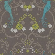 Flamenco (320723) - Eijffinger Wallpapers - A beautiful metallic chocolate brown lustre background, with a multi-coloured floral trail including birds of paradise, with a hand printed effect. Please ask for sample for true colour match. Paste-the-wall product.